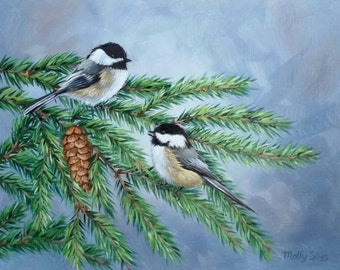Pair of Chickadees - Chickadee - Bird painting - Black capped chickadee - Open edition print