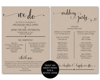 Wedding Program Template, Wedding Program Printable, We Do, Ceremony Printable Template - PDF Instant Download, DIY, WBWD4