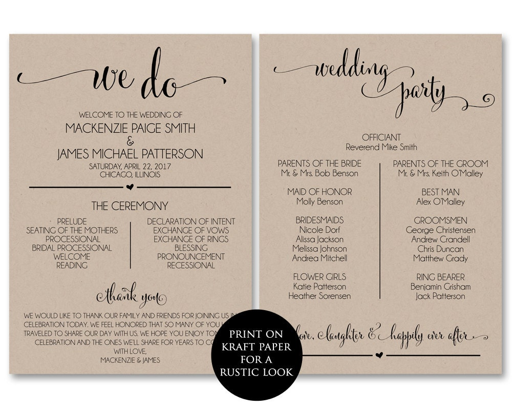 Clever image throughout printable wedding program
