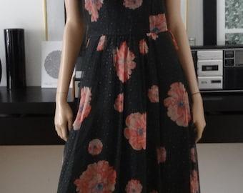 robe vintage longue fleurie VERA MONT noire taille 38 / VTG dress 70's / volants