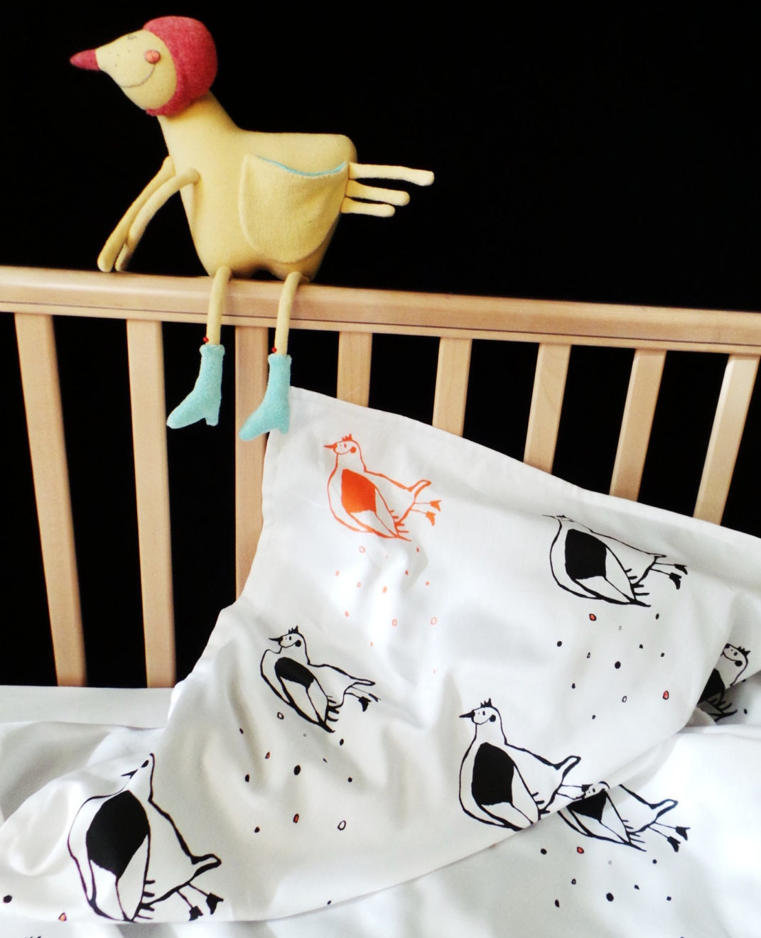 Flying Chicken Toddler And Baby Bed Linen Soft Organic Satin