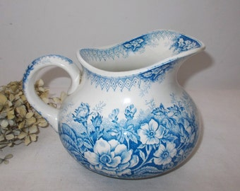 Antique French Ironstone Jug/Pitcher White and Blue Floral Pattern