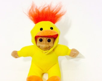 Vintage Troll in Duck Costume, Orange Hair Duck Troll, Russ Berrie & Co., Orange Hair Trolls, Vintage Dolls, Collectible Troll Toys