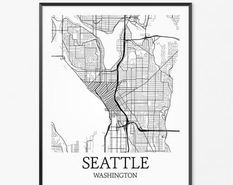 Seattle Map Art Print, Seattle Poster Map of Seattle Decor, Seattle City Map Art, Seattle Gift, Seattle Washington Art Poster