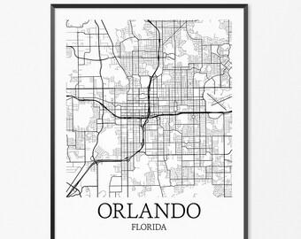 Orlando Map Art Print, Orlando Poster Map of Orlando Decor, Orlando City Map Art, Orlando Gift, Orlando Florida Art Poster