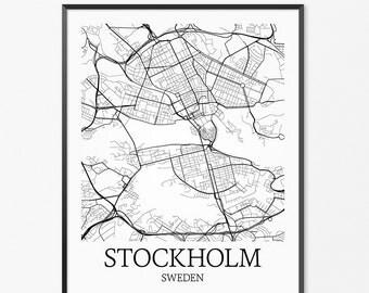 Stockholm Map Art Print, Stockholm Poster Map of Stockholm Decor, Stockholm City Map Art, Stockholm Gift, Stockholm Sweden Art Poster
