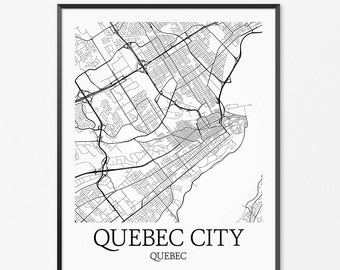 Quebec City Map Art Print, Quebec City Poster Map of Quebec City Decor, Quebec City Map Art, Quebec City Gift, Quebec City Quebec Art Poster