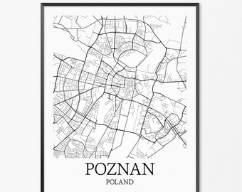 Poznan Map Art Print, Poznan Poster Map of Poznan Decor, Poznan City Map Art, Poznan Gift, Poznan Poland Art Poster
