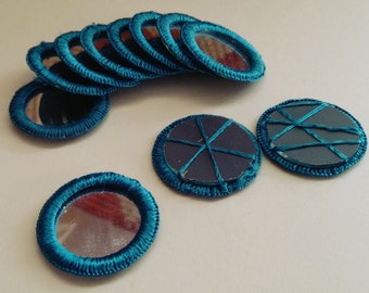 TEAL Blue Shisha Mirrors Belly Dance Tribal Fusion ATS Costuming Supply 1 Dozen