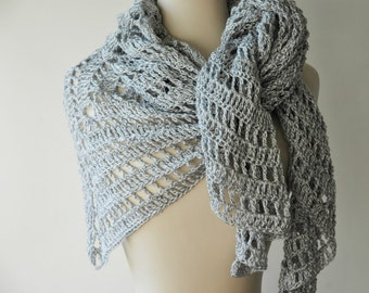 Silver triangle shawl in lacy crochet - ready to ship