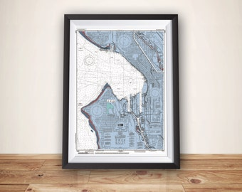 Seattle Map, Nautical Chart Map, Seattle Art, Map Art, Seattle Poster, Seattle Print, Home Decor, Wall Art