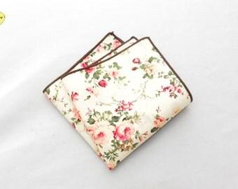 Cream White Floral Pocket Square, Floral Pocket Square, Ivory Floral Pocket Square, White Pocket Square, Wedding Pocket Square