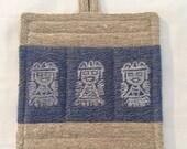 Pot holder -  mexican motif - 100% rustic linen - hand block printed - The Casa Marengo Collection
