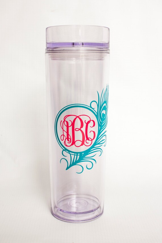 Peacock Feather Monogrammed Tumbler,double-wall acrylic tumbler,tall skinny cup, travel mug, personalized gift, vine monogram cup, bird cup