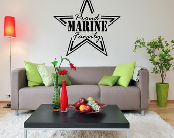 Wall Decal - Proud Marine Family - Home Wall Decal Vinyl Lettering HD105