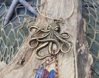 Bronze Octopus Rearview Mirror Accessory- Car Accessory - Car Jewelry - Quartz Crystal Druzy - Boho Beach - Unique Gifts - Beach Accessory