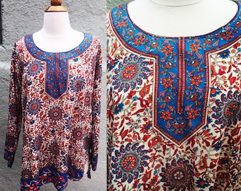 Indian Tunic Dress Women's Vintage Silky Tunic Minidress with Sparkle Details Made in India Size S/M