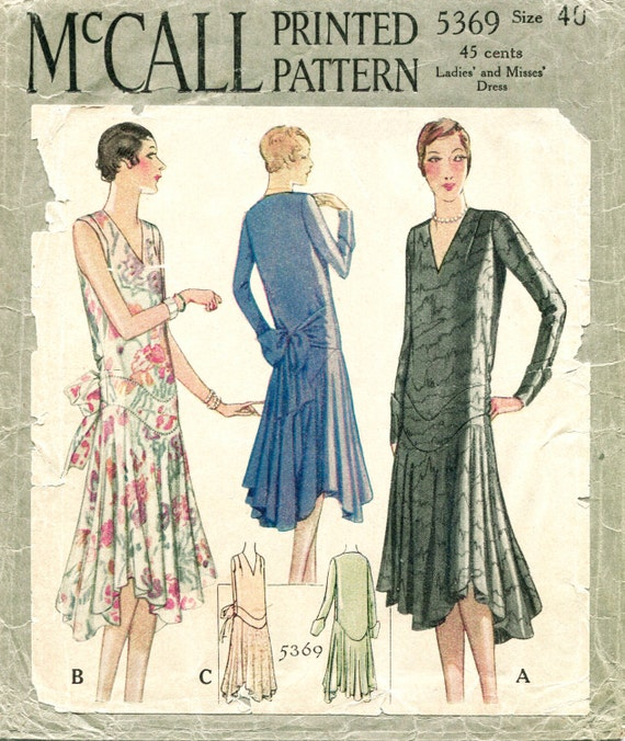 1920s 1930s vintage sewing pattern flapper day or evening dress bias ...