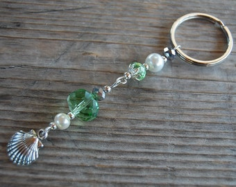 Crystal Keychain,Pearl Beads Key Chain,Shell Keychain,Boho Key,Green Crystal Charm,Teen Gift,View Mirror Charm,Woman,Girl,Chic,Gift