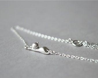 Silver cat bracelet, 925 sterling silver bracelet, brushed surface, Christmas gift (SL9)