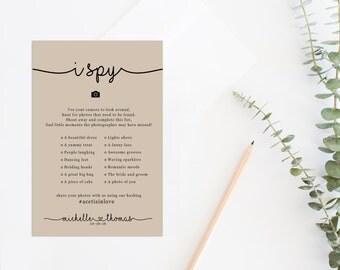 I Spy With My Little Camera Printable Card, Printable Camera Game, Wedding Hashtag Sign,  I Spy Wedding Game, Wedding Reception Game