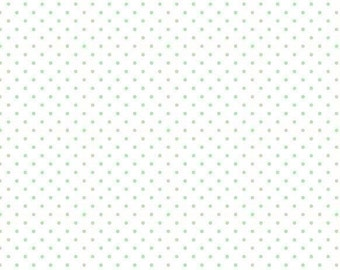 NEW! Mint Green Swiss Dot On White from Swiss Dots Collection by Riley Blake 100% Cotton Fabric