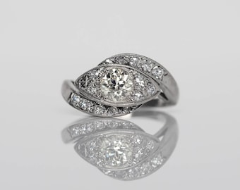 Circa 1940 - 14K White Gold Art Deco .60ct GIA Old European Cut Diamond Engagement Ring - VEG#568