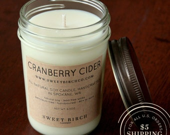 Small Cranberry Scented Soy Jar Candle - Winter Scented Candle - Cranberry Cider