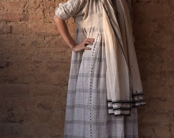 New York, Kala Cotton Long Dress in Grey and White Woven Pattern, Organic