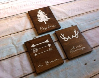 Your Choice Set of 2 Be brave. Have courage. Be Wild Explore. Set of 2. Woodland nursery, boy decor.Outdoor themed room ~ wood wall hangings