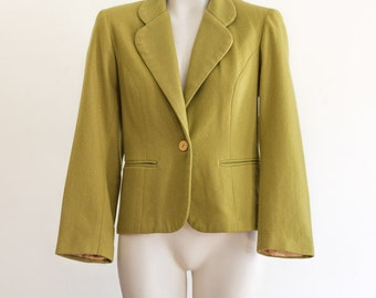1970s pea green wool blazer