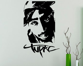 2pac Wall Vinyl Decal Tupac Shakur Wall Sticker Home Interior Rapper Hip Hop Bedroom Decor Wall Design 9(tpc)