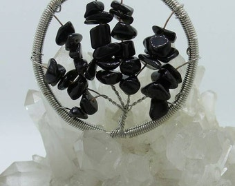 Black Onyx Tree Of Life Wire Wrapped Pendant.