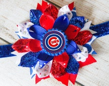 Chicago Cubs Hair Bow- Cubs Hair Bow, Chicago Cubs Bow, Cubs Bow, Chicago Cubs Headband, Chicago Cubs Hair Clip, Cubs Headband, Cubs Bow