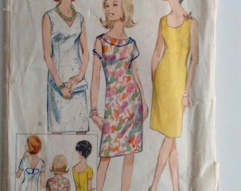 Vintage 1960's Simplicity 6538 Sewing Pattern Wiggle Mod Shift Sleeveless Summer Dress