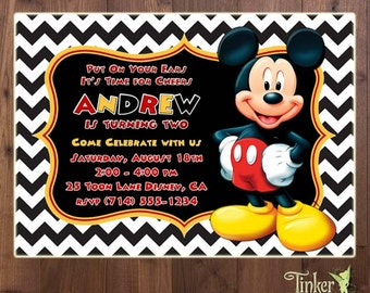 Mickey Mouse Birthday Party Invitation - Digital File - Choose from 3 backgrounds - Mickey Mouse Invite - polka dots - chevron - Classic