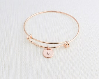 Rose Gold Bangle Bracelet, Initial Bracelet, Stacking Bracelet, Monogram Bracelet, Gift Idea