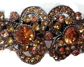 New Amber & Topaz Crystal  Antique Silver  4'' Hair Barrette