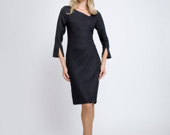 ALICE Tailored dress with asymmetric neckline