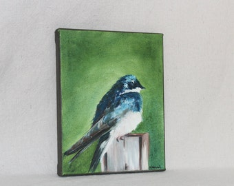 """Chickadee oil pallet knife painting 8"""" X 10"""" A167"""
