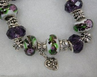 Purple and White Flowered Charm Bracelet