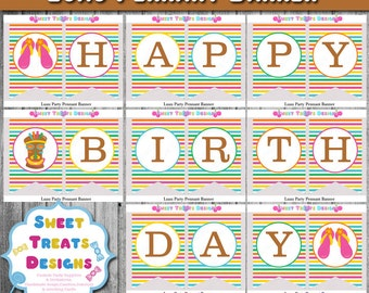 Luau Party Banner, Luau Pennant Banner, Luau Birthday Banner, Luau, Luau Birthday Party Banner, Printable Luau Banner, Instant Download
