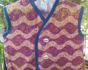 African Print Baby Vest with Coweries