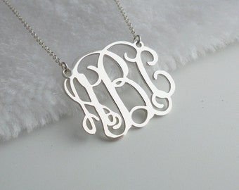 """Silver Monogram Necklace1.25"""",Monogram Initial Necklace,Custom Name Necklace,Personalized Script Necklace,Nameplate Necklace"""