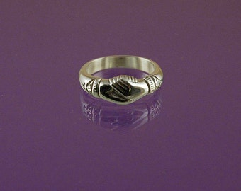 Fede Ring a symbol of fidelity and friendship- made to your size in 925 sterling silver