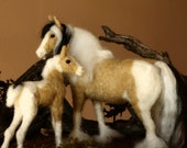 Needle Felted horse, Gypsy Vanner, mother and son, equestrian sculpture, equine decor, OOAK, Christmas gift