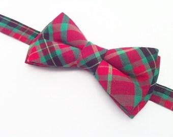Christmas Bow Tie, Boys Tartan Bow Tie | Tartan Plaid Bow Tie | Tartan Plaid Pre-Tied Bow Tie, Ready to ship