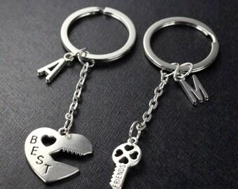 Best Friends Keychain set, initials Graduation Friendship Keychain, best bitches, heart key set, sisters gift jewelry, 2 set