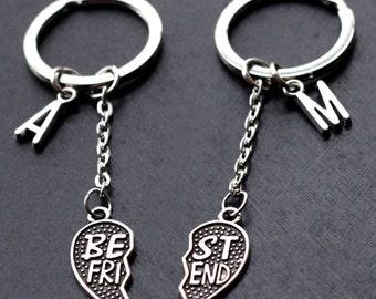 Best Friends Keychain, initials friendship Keychain set, PARTNERS IN CRIME, best bitches, broken heart set, sisters gift jewelry
