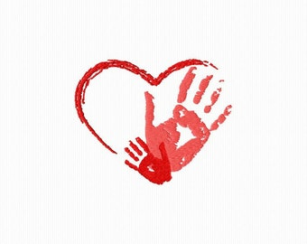 Embroidery of a heart with two hands for machine embroidery 4 x 4 format